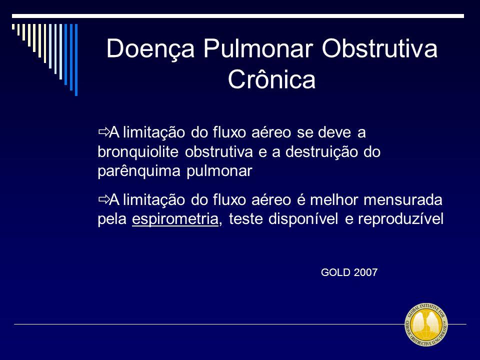 Doença Pulmonar Obstrutiva Crônica A limitação do fluxo aéreo se deve a bronquiolite obstrutiva e a destruição do parênquima pulmonar A limitação do f