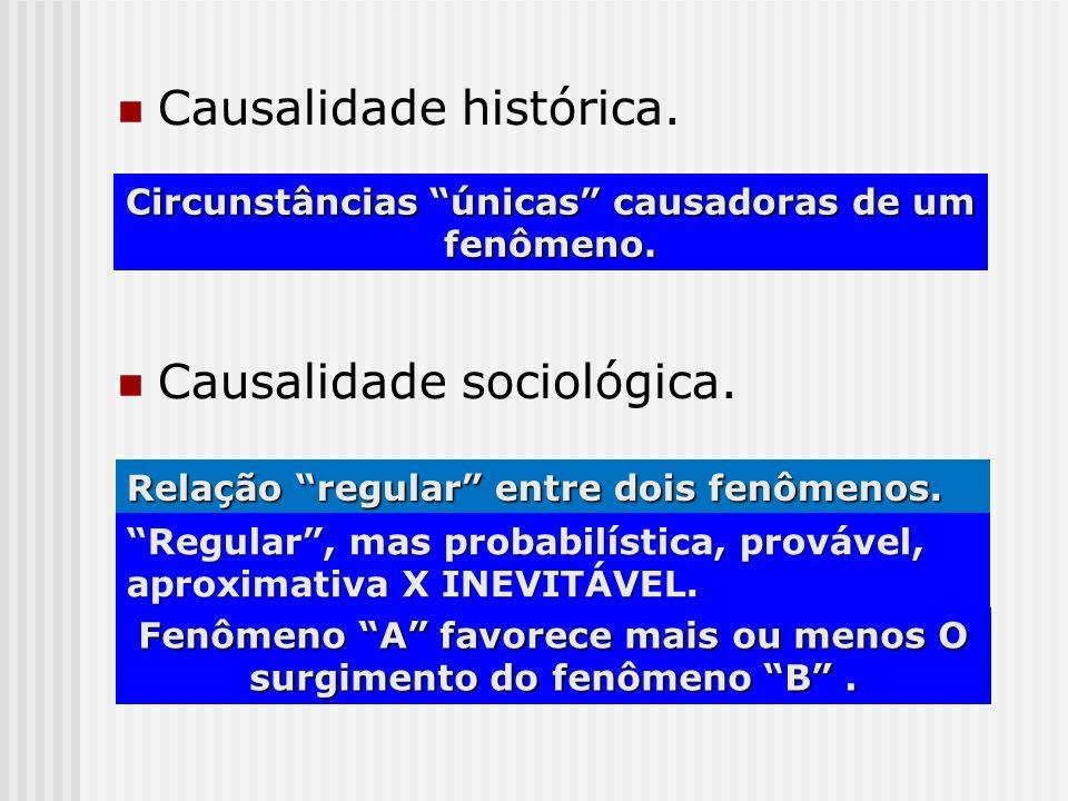 Causalidade histórica. Causalidade sociológica. Circunstâncias únicas causadoras de um fenômeno. Relação regular entre dois fenômenos. Regular, mas pr