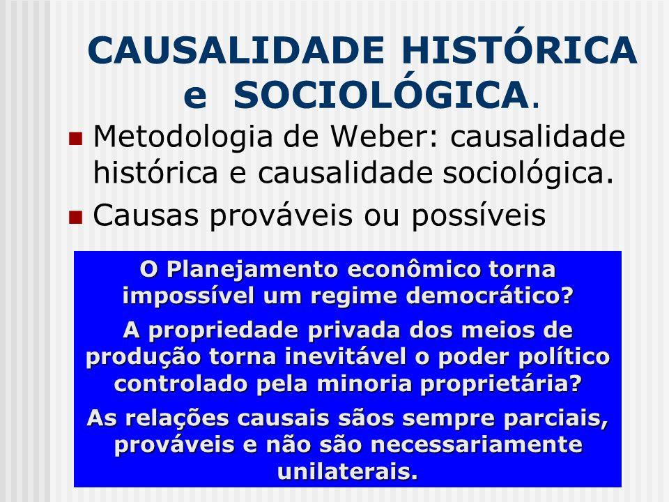 CAUSALIDADE HISTÓRICA e SOCIOLÓGICA. Metodologia de Weber: causalidade histórica e causalidade sociológica. Causas prováveis ou possíveis O Planejamen