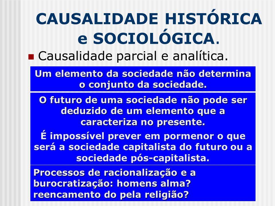 CAUSALIDADE HISTÓRICA e SOCIOLÓGICA. Causalidade parcial e analítica. Um elemento da sociedade não determina o conjunto da sociedade. O futuro de uma