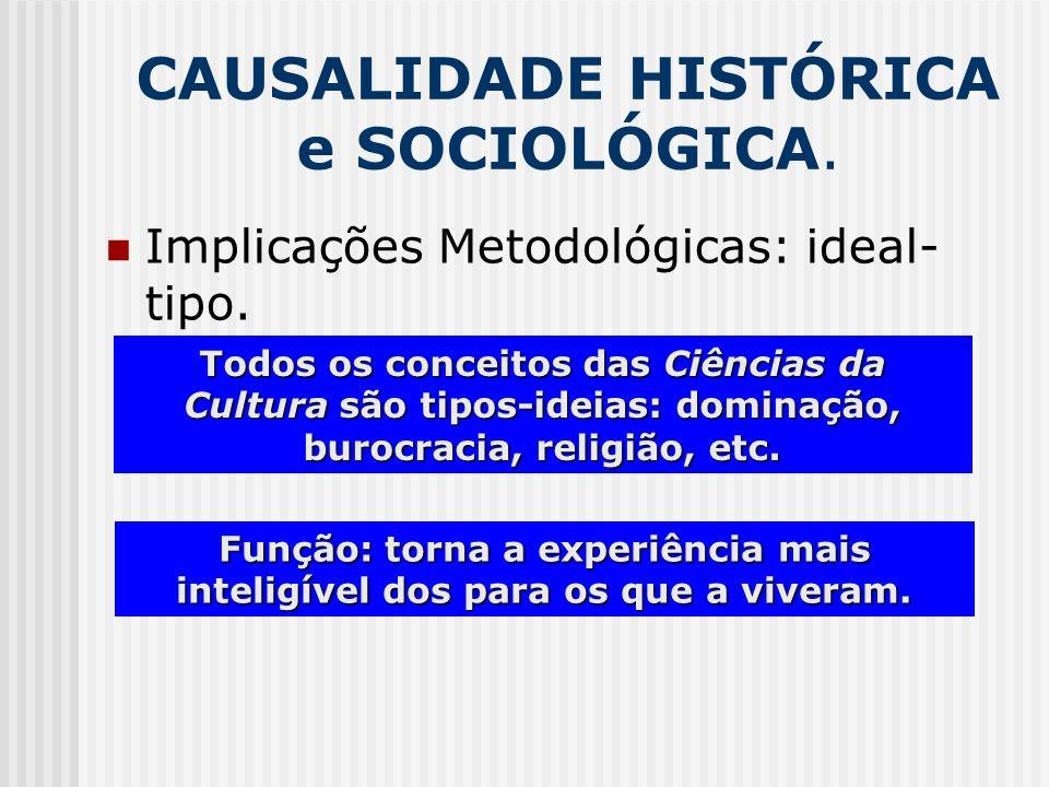 CAUSALIDADE HISTÓRICA e SOCIOLÓGICA. Implicações Metodológicas: ideal- tipo. Todos os conceitos das Ciências da Cultura são tipos-ideias: dominação, b