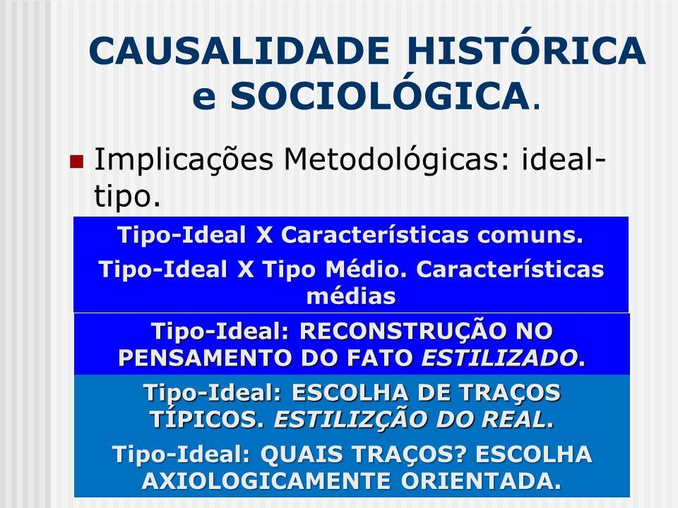 CAUSALIDADE HISTÓRICA e SOCIOLÓGICA. Implicações Metodológicas: ideal- tipo. Tipo-Ideal X Características comuns. Tipo-Ideal X Tipo Médio. Característ