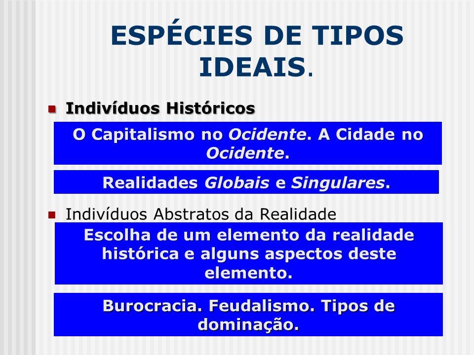 ESPÉCIES DE TIPOS IDEAIS. Indivíduos Históricos Indivíduos Históricos Indivíduos Abstratos da Realidade O Capitalismo no Ocidente. A Cidade no Ocident