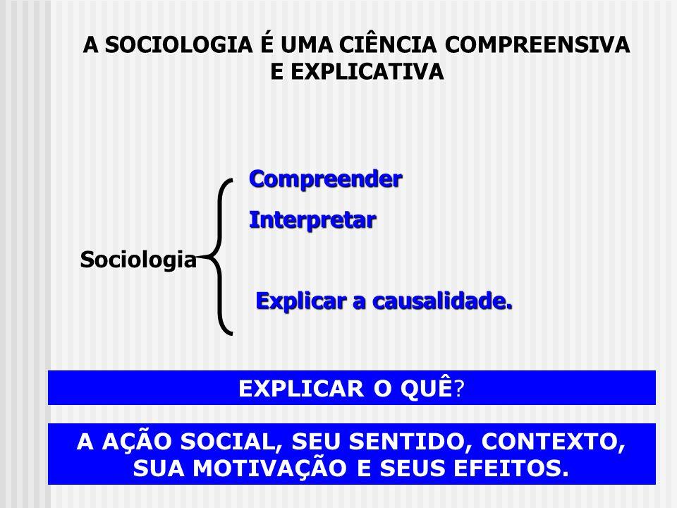 Compreender Compreender Interpretar InterpretarSociologia Explicar a causalidade. Explicar a causalidade. A SOCIOLOGIA É UMA CIÊNCIA COMPREENSIVA E EX