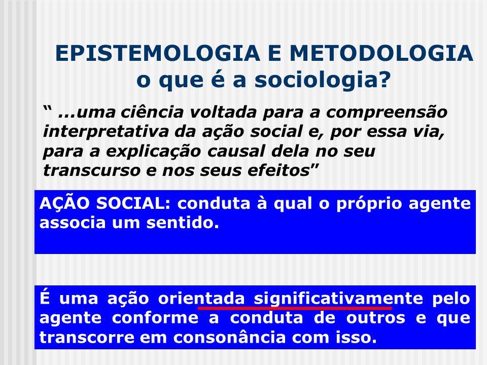 EPISTEMOLOGIA E METODOLOGIA o que é a sociologia?...uma ciência voltada para a compreensão interpretativa da ação social e, por essa via, para a expli