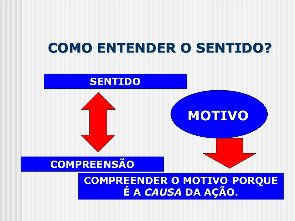 COMO ENTENDER O SENTIDO? SENTIDO COMPREENSÃO MOTIVO COMPREENDER O MOTIVO PORQUE É A CAUSA DA AÇÃO.