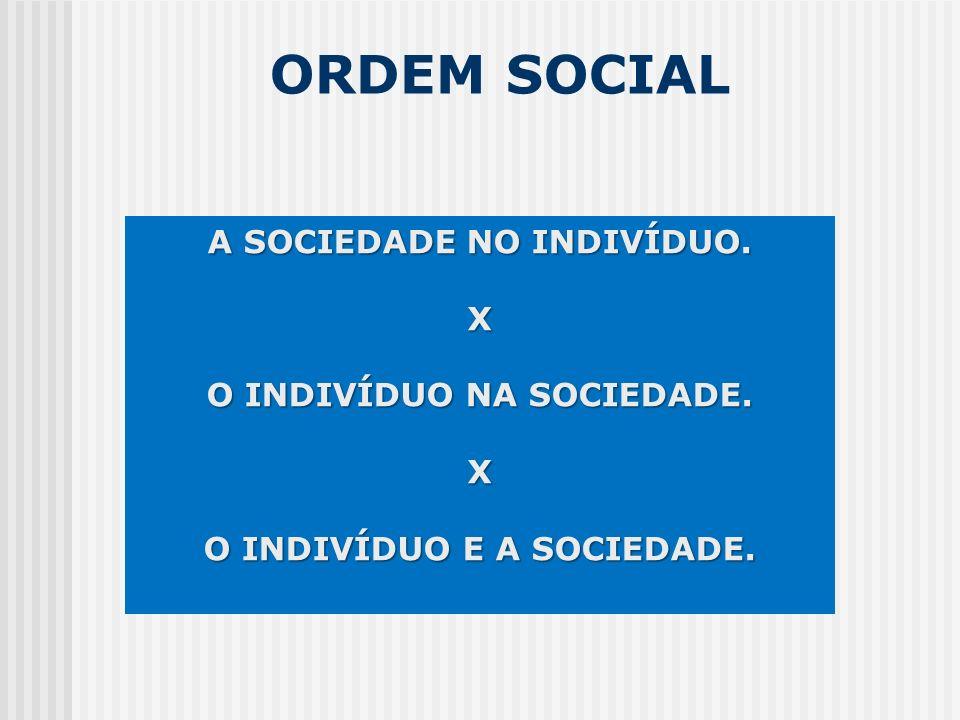 ORDEM SOCIAL A SOCIEDADE NO INDIVÍDUO. X O INDIVÍDUO NA SOCIEDADE. X O INDIVÍDUO E A SOCIEDADE.