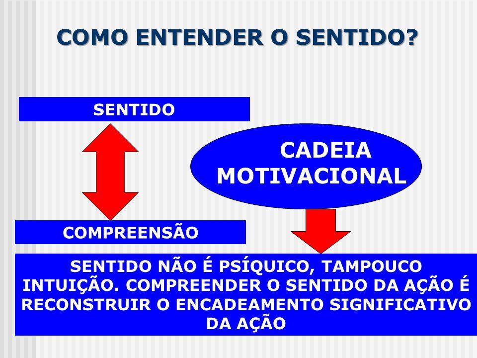 COMO ENTENDER O SENTIDO? SENTIDO COMPREENSÃO CADEIA MOTIVACIONAL SENTIDO NÃO É PSÍQUICO, TAMPOUCO INTUIÇÃO. COMPREENDER O SENTIDO DA AÇÃO É RECONSTRUI