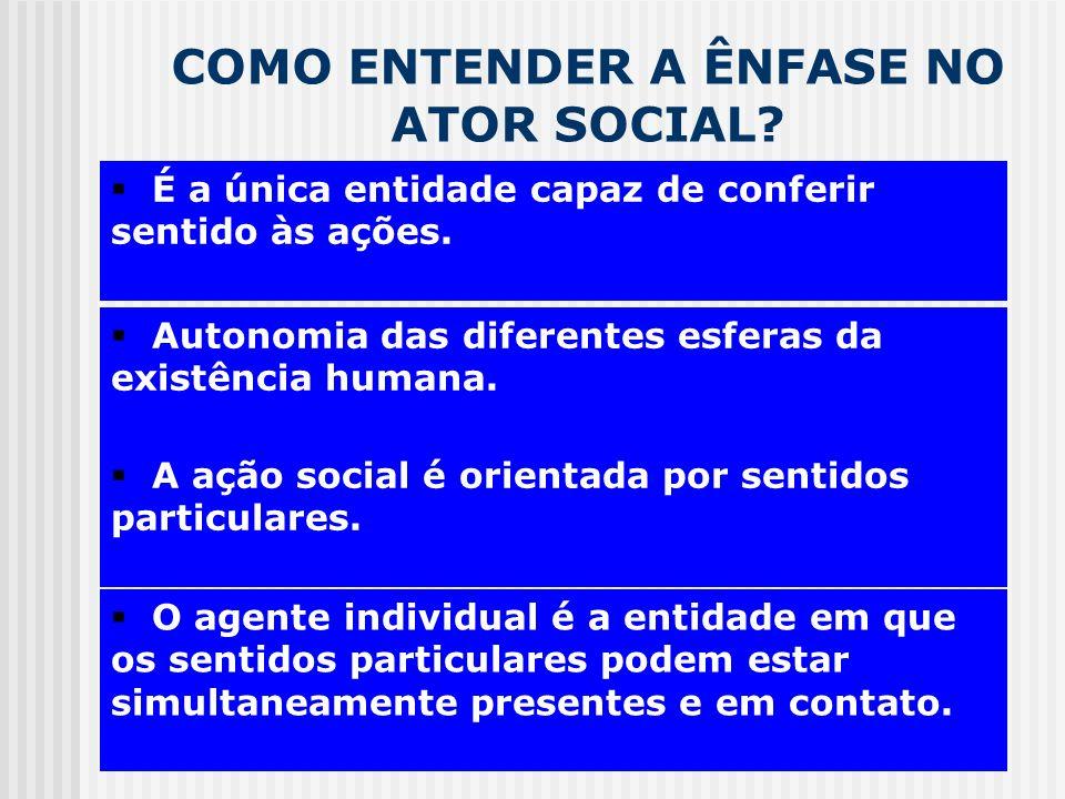 COMO ENTENDER A ÊNFASE NO ATOR SOCIAL? CADEIA MOTIVACIONAL Autonomia das diferentes esferas da existência humana. É a única entidade capaz de conferir