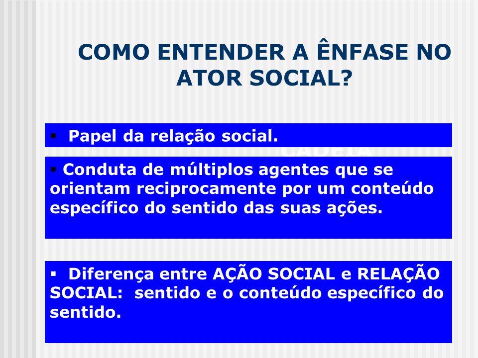 COMO ENTENDER A ÊNFASE NO ATOR SOCIAL? CADEIA MOTIVACIONAL Conduta de múltiplos agentes que se orientam reciprocamente por um conteúdo específico do s