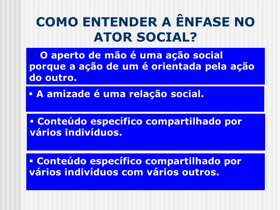 COMO ENTENDER A ÊNFASE NO ATOR SOCIAL? CADEIA MOTIVACIONAL A amizade é uma relação social. O aperto de mão é uma ação social porque a ação de um é ori