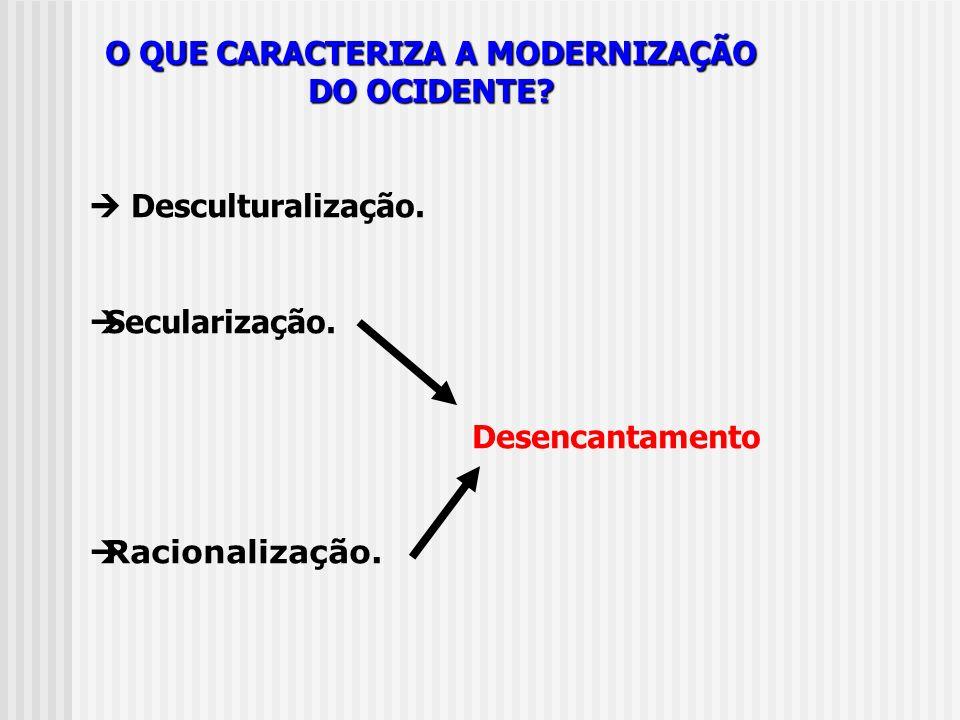 O QUE CARACTERIZA A MODERNIZAÇÃO DO OCIDENTE? Desculturalização. Secularização. Desencantamento Racionalização.