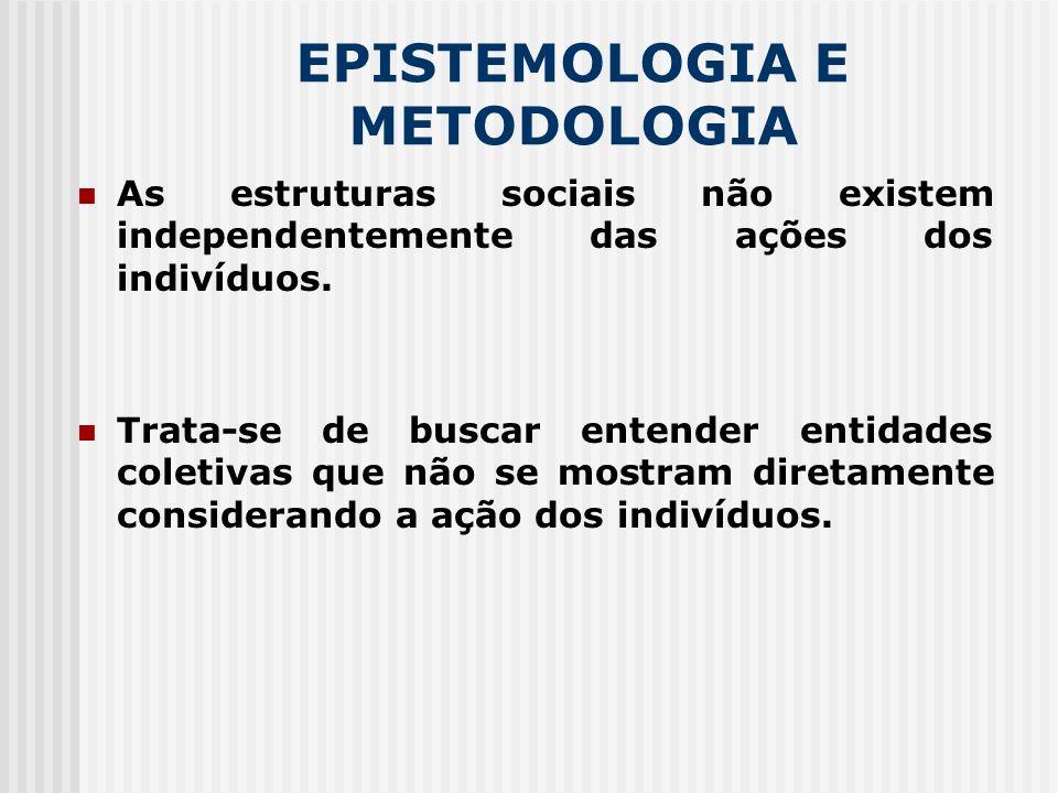 EPISTEMOLOGIA E METODOLOGIA As estruturas sociais não existem independentemente das ações dos indivíduos. Trata-se de buscar entender entidades coleti