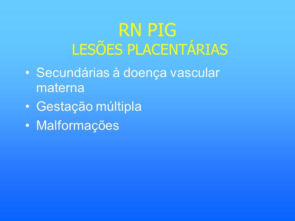 RN PIG LESÕES PLACENTÁRIAS Secundárias à doença vascular materna Gestação múltipla Malformações