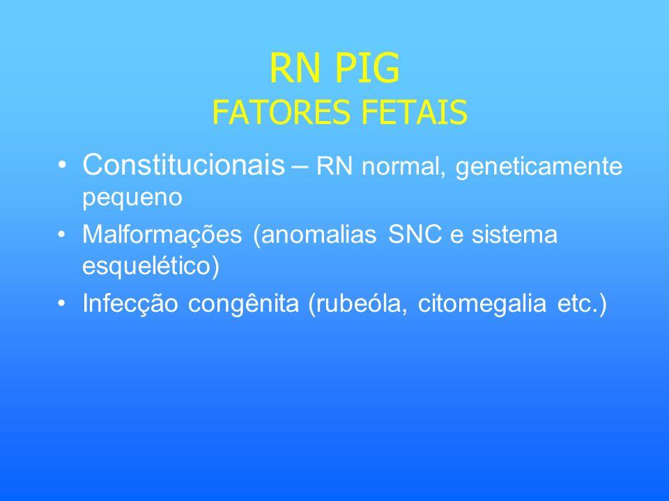 RN PIG FATORES FETAIS Constitucionais – RN normal, geneticamente pequeno Malformações (anomalias SNC e sistema esquelético) Infecção congênita (rubeól