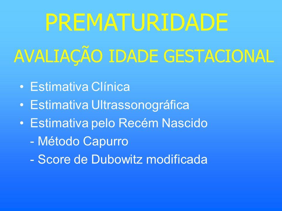 AVALIAÇÃO IDADE GESTACIONAL Estimativa Clínica Estimativa Ultrassonográfica Estimativa pelo Recém Nascido - Método Capurro - Score de Dubowitz modific