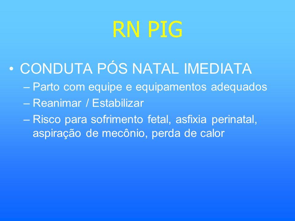 RN PIG CONDUTA PÓS NATAL IMEDIATA –Parto com equipe e equipamentos adequados –Reanimar / Estabilizar –Risco para sofrimento fetal, asfixia perinatal,
