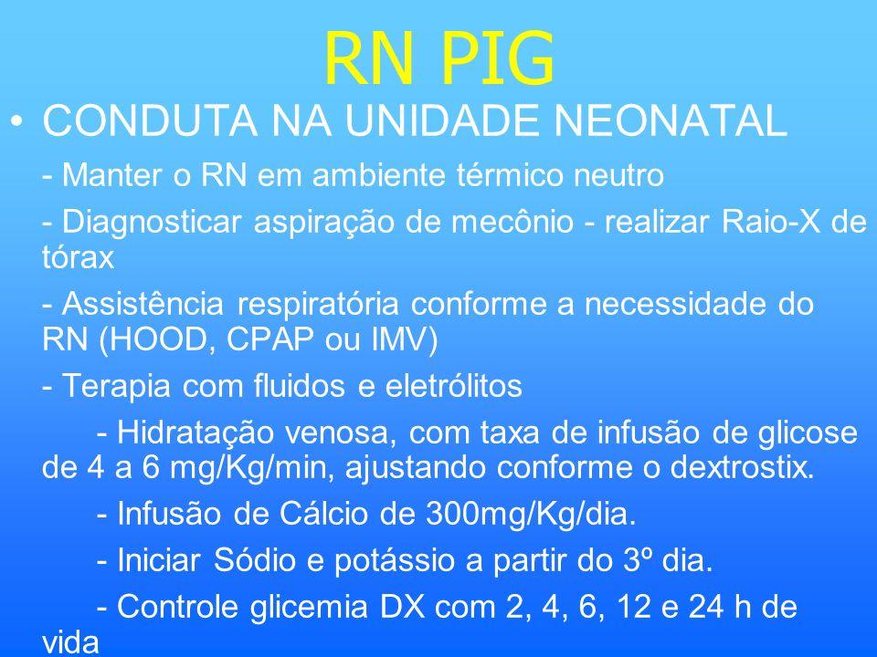 RN PIG CONDUTA NA UNIDADE NEONATAL - Manter o RN em ambiente térmico neutro - Diagnosticar aspiração de mecônio - realizar Raio-X de tórax - Assistênc