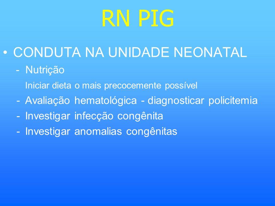 RN PIG CONDUTA NA UNIDADE NEONATAL - Nutrição Iniciar dieta o mais precocemente possível -Avaliação hematológica - diagnosticar policitemia -Investiga