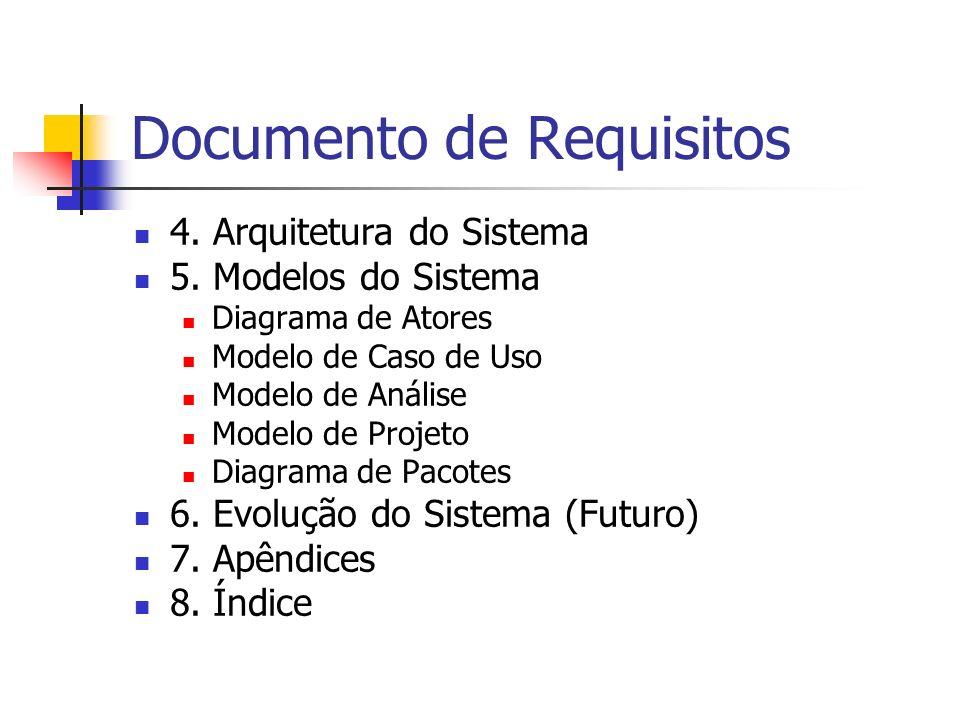 Documento de Requisitos 4. Arquitetura do Sistema 5. Modelos do Sistema Diagrama de Atores Modelo de Caso de Uso Modelo de Análise Modelo de Projeto D