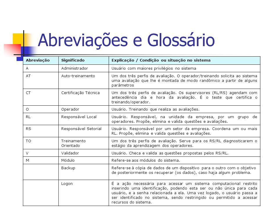 Abreviações e Glossário AbreviaçãoSignificadoExplicação / Condição ou situação no sistema AAdministradorUsuário com maiores privilégios no sistema ATA
