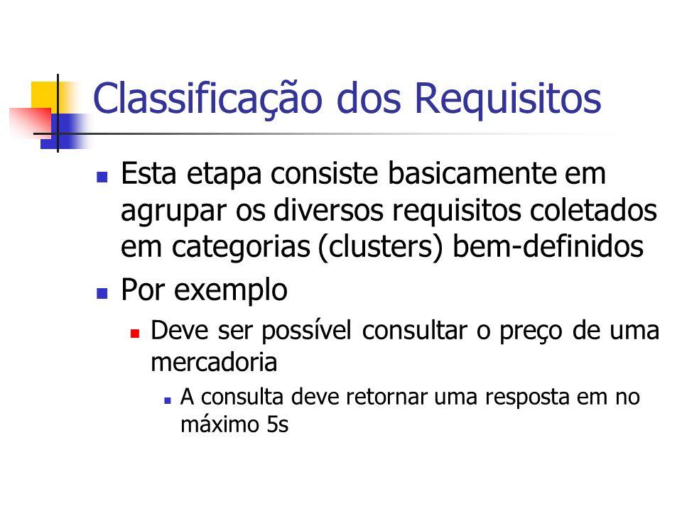 Classificação dos Requisitos Esta etapa consiste basicamente em agrupar os diversos requisitos coletados em categorias (clusters) bem-definidos Por ex