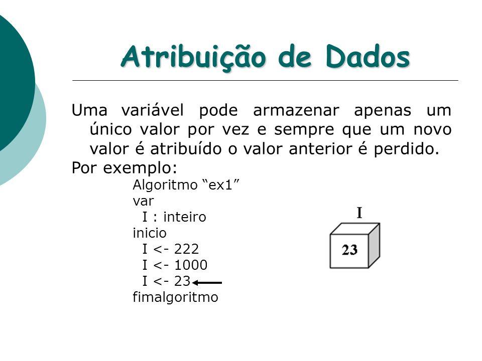 Atribuição de Dados Uma variável pode armazenar apenas um único valor por vez e sempre que um novo valor é atribuído o valor anterior é perdido.