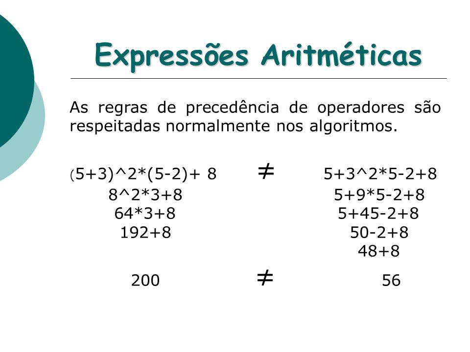Expressões Aritméticas As regras de precedência de operadores são respeitadas normalmente nos algoritmos.