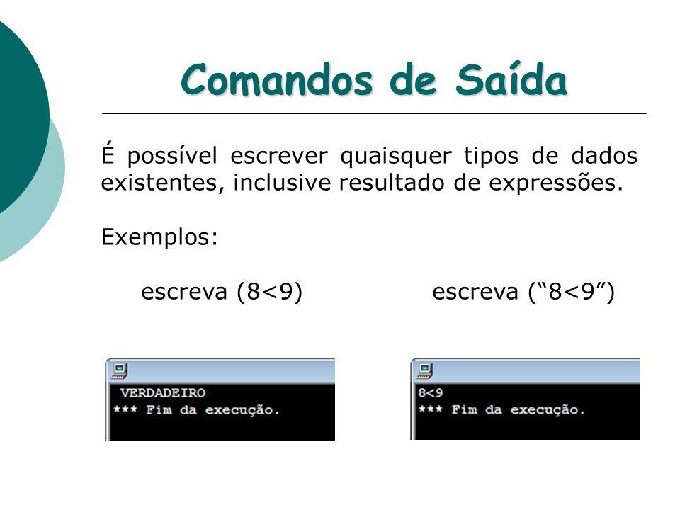 Comandos de Saída É possível escrever quaisquer tipos de dados existentes, inclusive resultado de expressões.