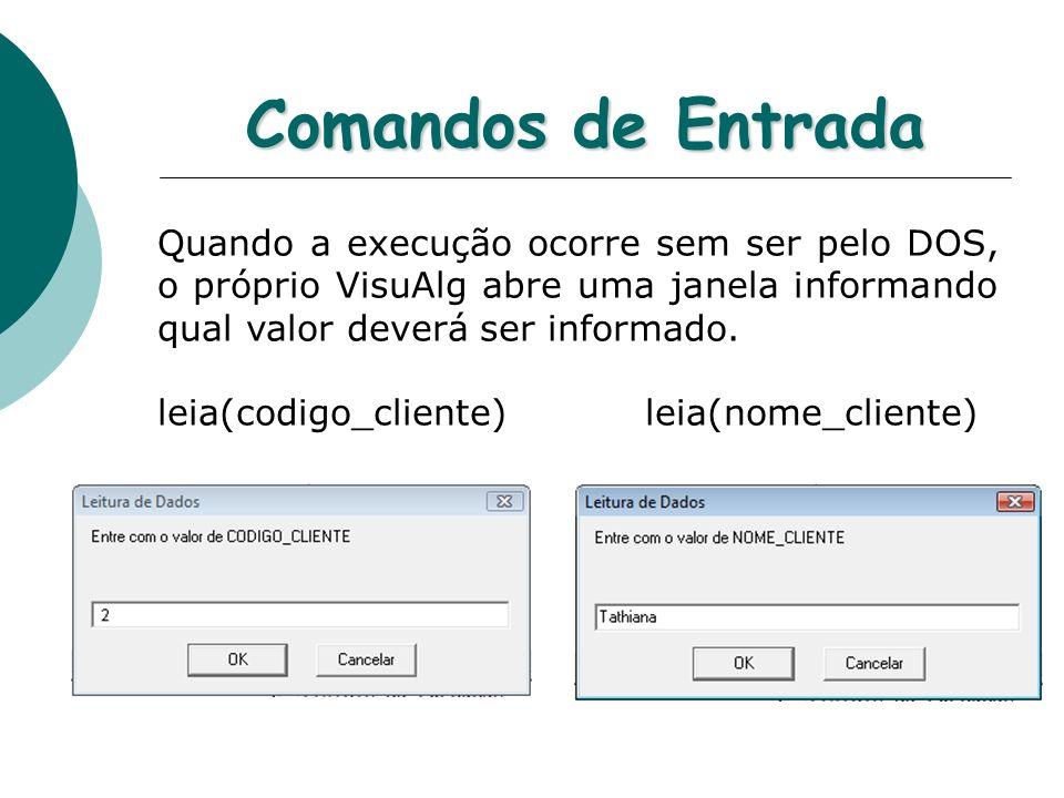Comandos de Entrada Quando a execução ocorre sem ser pelo DOS, o próprio VisuAlg abre uma janela informando qual valor deverá ser informado.