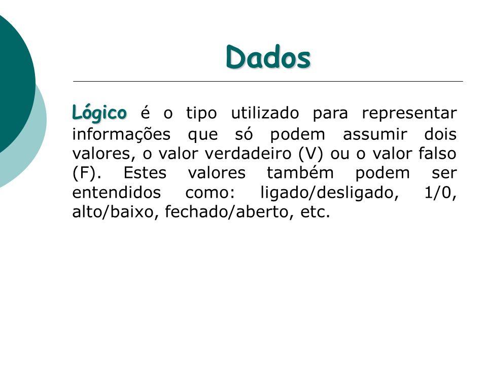 Dados Lógico Lógico é o tipo utilizado para representar informações que só podem assumir dois valores, o valor verdadeiro (V) ou o valor falso (F).