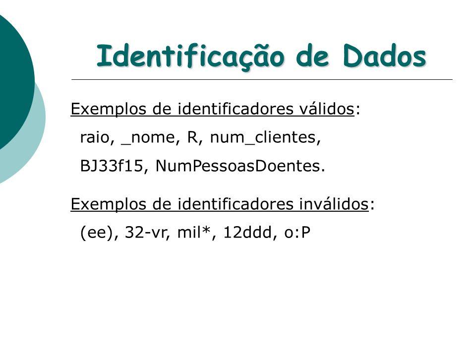Identificação de Dados Exemplos de identificadores válidos: raio, _nome, R, num_clientes, BJ33f15, NumPessoasDoentes.