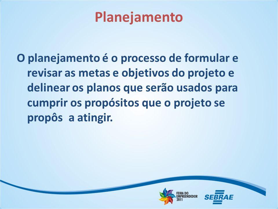 Planejamento O planejamento é o processo de formular e revisar as metas e objetivos do projeto e delinear os planos que serão usados para cumprir os p