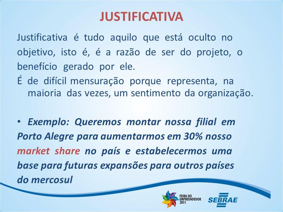 JUSTIFICATIVA Justificativa é tudo aquilo que está oculto no objetivo, isto é, é a razão de ser do projeto, o benefício gerado por ele.