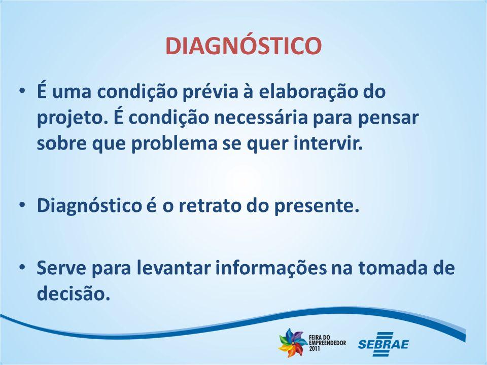 DIAGNÓSTICO É uma condição prévia à elaboração do projeto. É condição necessária para pensar sobre que problema se quer intervir. Diagnóstico é o retr