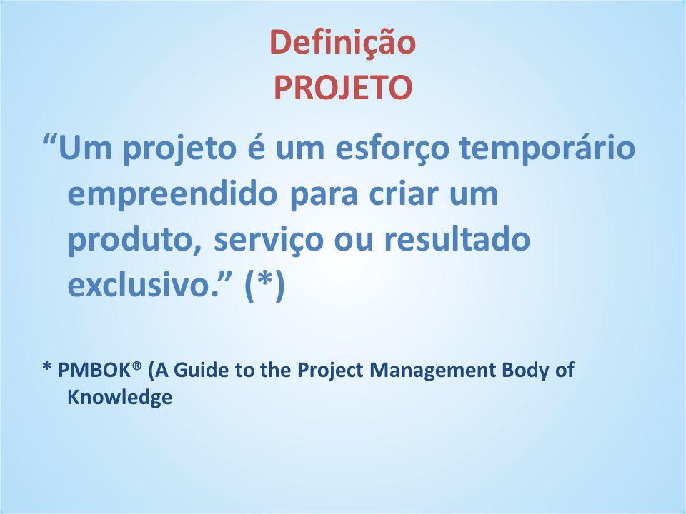 Definição PROJETO Um projeto é um esforço temporário empreendido para criar um produto, serviço ou resultado exclusivo. (*) * PMBOK® (A Guide to the P
