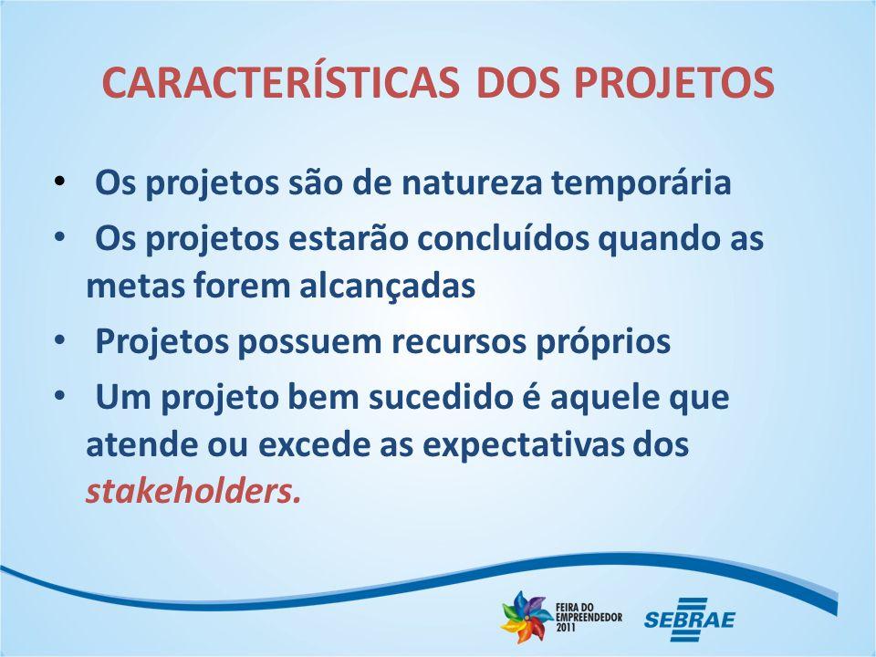 CARACTERÍSTICAS DOS PROJETOS Os projetos são de natureza temporária Os projetos estarão concluídos quando as metas forem alcançadas Projetos possuem r