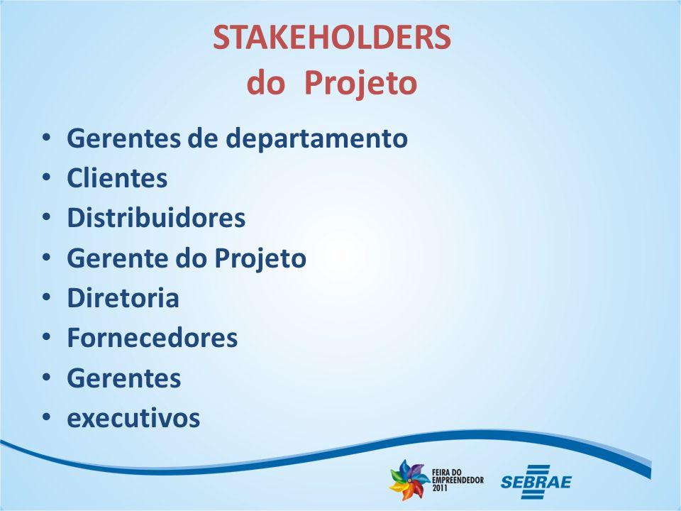 STAKEHOLDERS do Projeto Gerentes de departamento Clientes Distribuidores Gerente do Projeto Diretoria Fornecedores Gerentes executivos