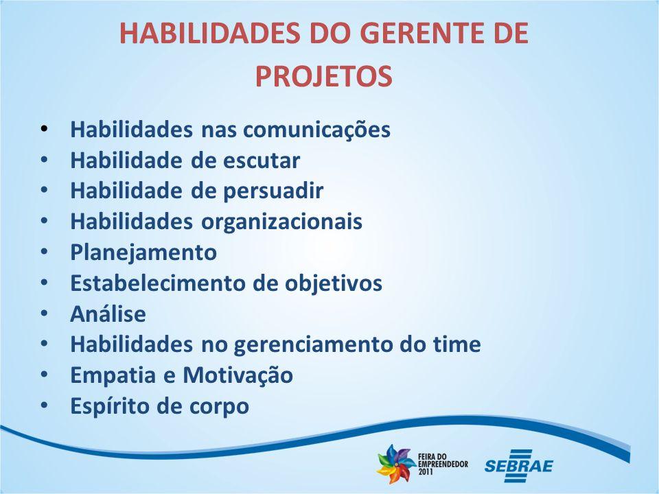 HABILIDADES DO GERENTE DE PROJETOS Habilidades nas comunicações Habilidade de escutar Habilidade de persuadir Habilidades organizacionais Planejamento