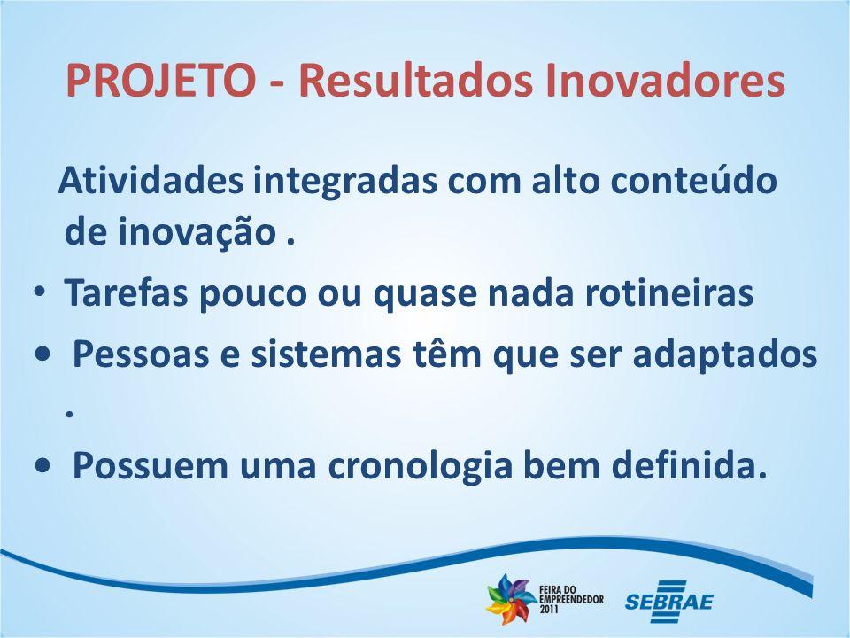 PROJETO - Resultados Inovadores Atividades integradas com alto conteúdo de inovação.