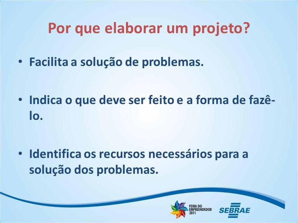 Por que elaborar um projeto? Facilita a solução de problemas. Indica o que deve ser feito e a forma de fazê- lo. Identifica os recursos necessários pa