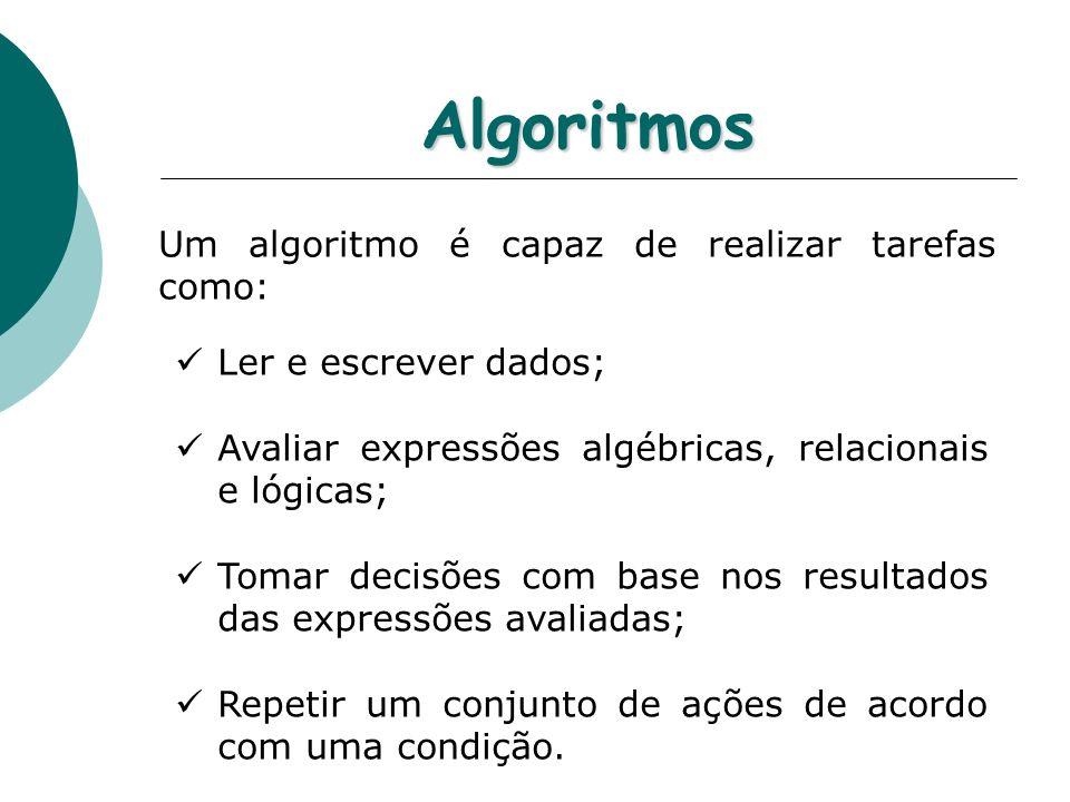 Algoritmos Um algoritmo é capaz de realizar tarefas como: Ler e escrever dados; Avaliar expressões algébricas, relacionais e lógicas; Tomar decisões c