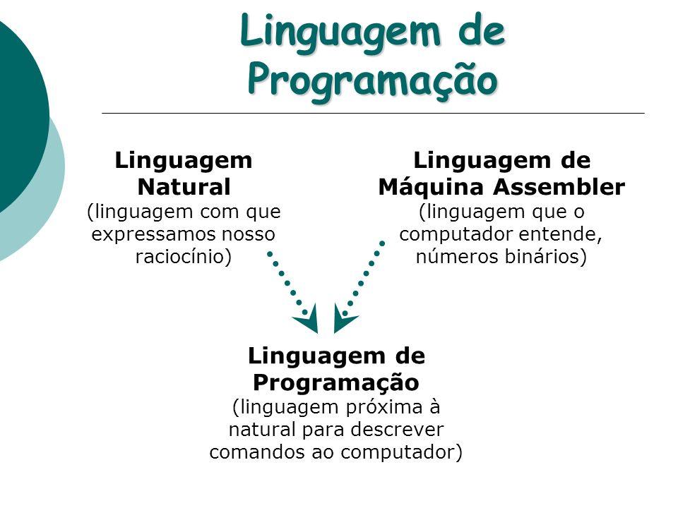 Linguagem de Programação Linguagem Natural (linguagem com que expressamos nosso raciocínio) Linguagem de Máquina Assembler (linguagem que o computador