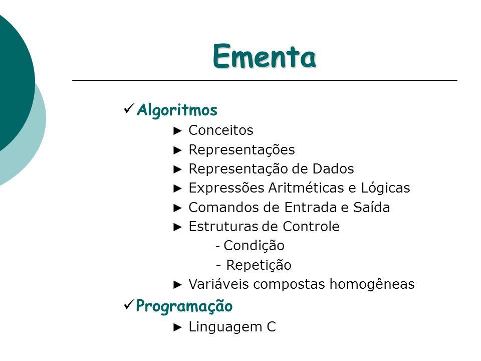 Ementa Algoritmos Conceitos Representações Representação de Dados Expressões Aritméticas e Lógicas Comandos de Entrada e Saída Estruturas de Controle