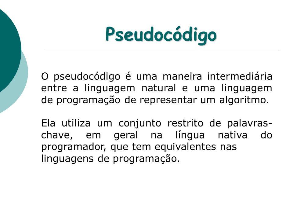 Pseudocódigo O pseudocódigo é uma maneira intermediária entre a linguagem natural e uma linguagem de programação de representar um algoritmo. Ela util
