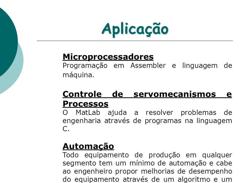 Aplicação Microprocessadores Programação em Assembler e linguagem de máquina. Controle de servomecanismos e Processos O MatLab ajuda a resolver proble