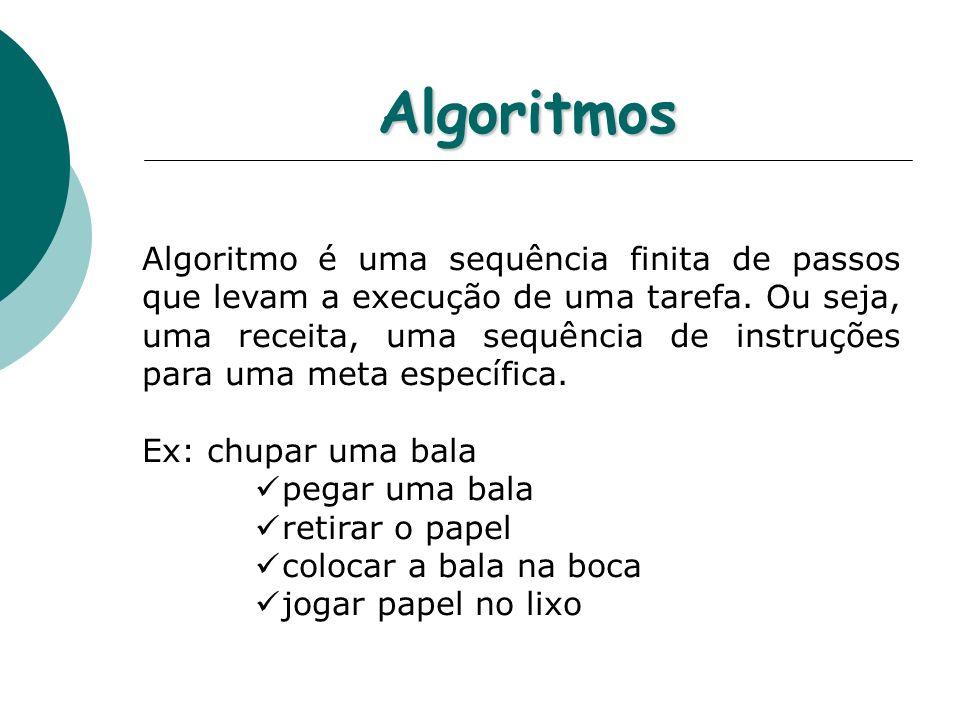 Algoritmos Algoritmo é uma sequência finita de passos que levam a execução de uma tarefa. Ou seja, uma receita, uma sequência de instruções para uma m