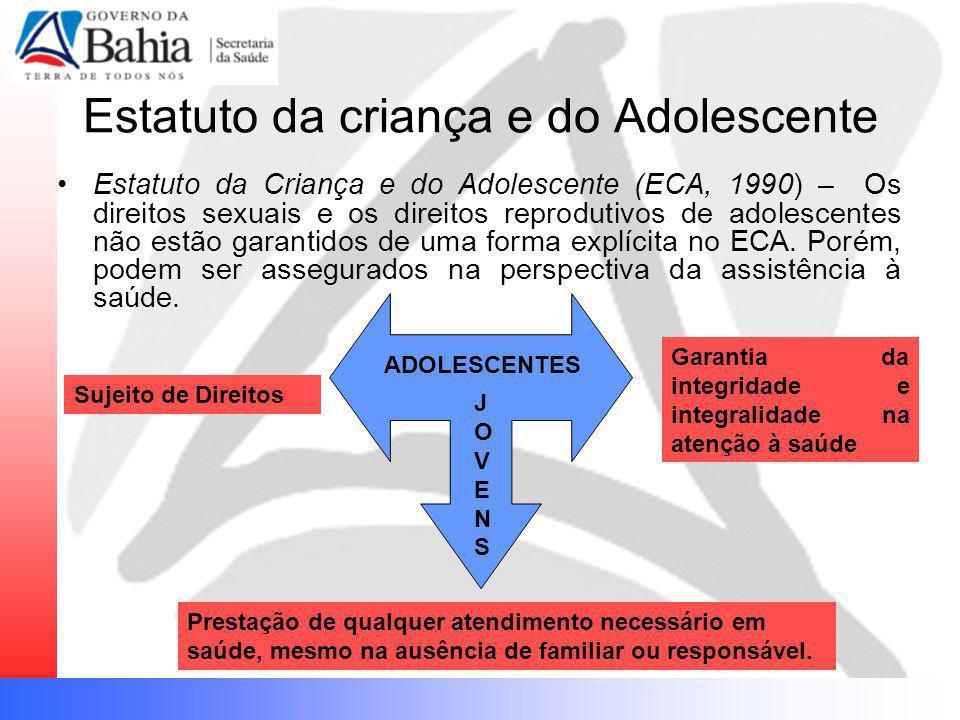 Estatuto da criança e do Adolescente Estatuto da Criança e do Adolescente (ECA, 1990) – Os direitos sexuais e os direitos reprodutivos de adolescentes
