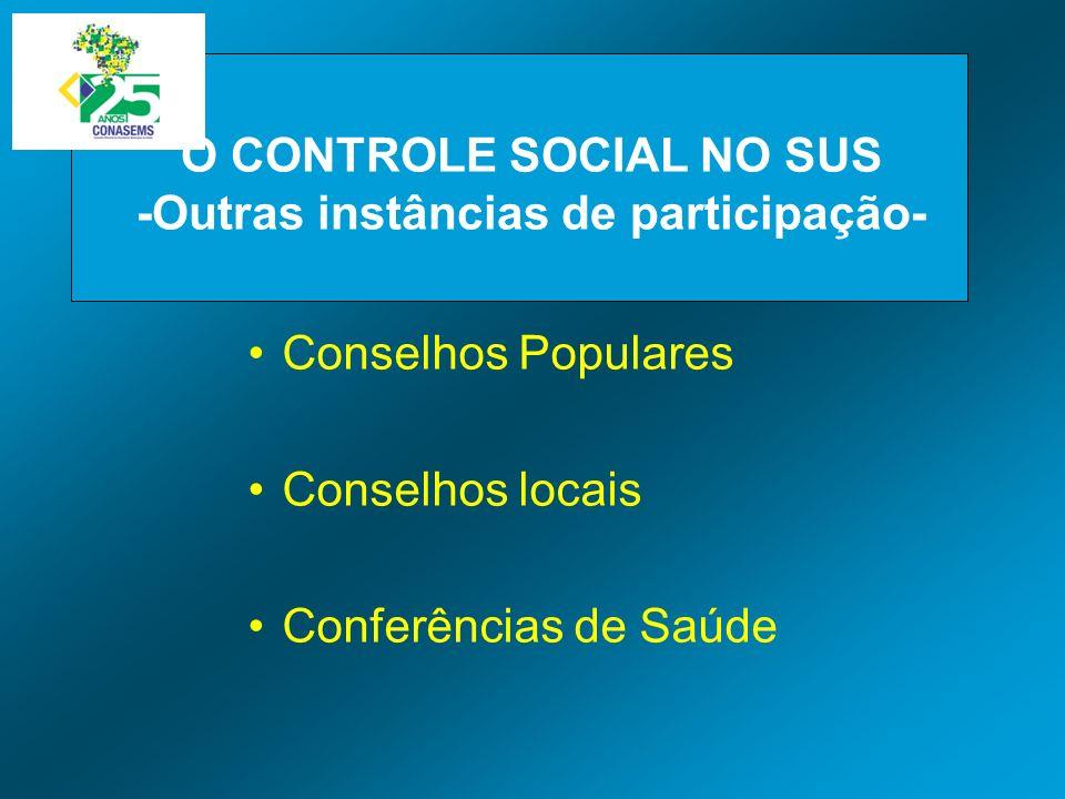 Conselhos Populares Conselhos locais Conferências de Saúde O CONTROLE SOCIAL NO SUS -Outras instâncias de participação-