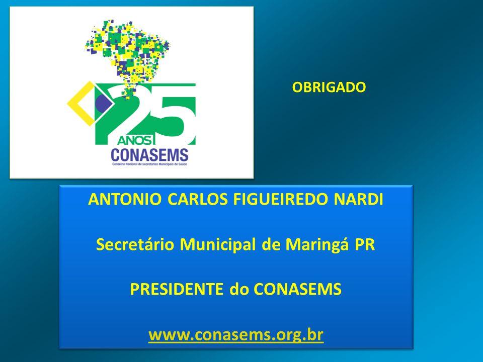 ANTONIO CARLOS FIGUEIREDO NARDI Secretário Municipal de Maringá PR PRESIDENTE do CONASEMS www.conasems.org.br ANTONIO CARLOS FIGUEIREDO NARDI Secretár